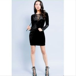 Crushed Velvet Lace-Up Bodycon Dress Black Goth